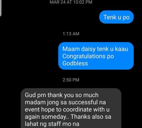 Comment & Feedback from our Mothers Debutant Madam Daisy...