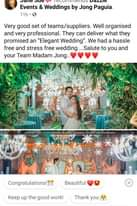 """Ist möglicherweise ein Bild von 2 Personen und Text """"6:51 < 52% Comments Jane Sue recommends Dazzle Events & Weddings by Jong Paguia. 11h.6 Very good set of teams/suppliers. Well organised and very professional They can deliver what they promised an"""